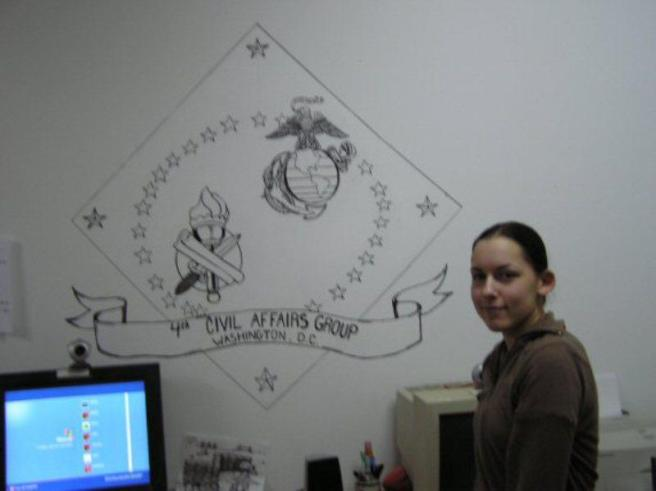 "I drew this mural for 4th Civil Affairs in their barracks dubbed the ""Frat House""."
