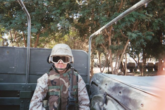 This was me on my way over to Camp Ramadi to do my humvee driver's test (Sept. 2004).