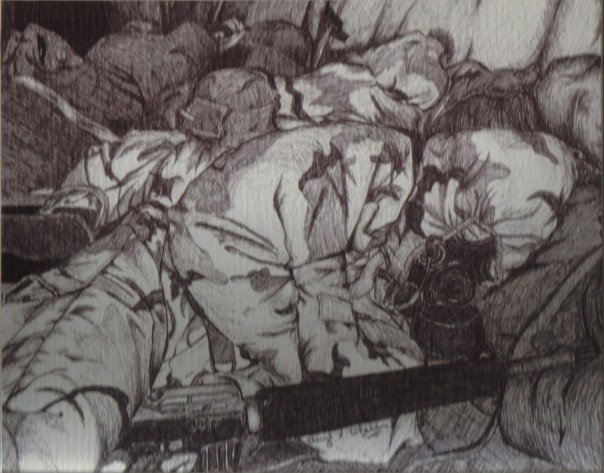 I drew this piece before my first deployment and it's drawn from a 35mm photograph I took at MOS school.