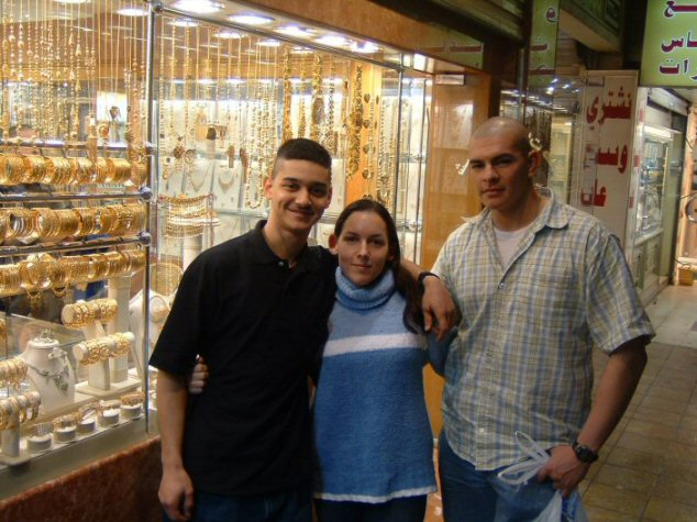 Myself and two Marine acquaintances I knew back then; this photo was taken in Qatar.