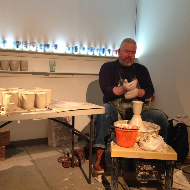 Ehren Tool treated us to a show--he made several cups on site out of a 25lb. block of clay!